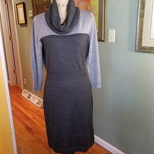 Loft two tone gray sweater cowl neck dress